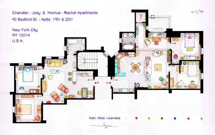 Το σπίτι της Monica και της Rachel δεξιά, του Chandler και του Joey αριστερά